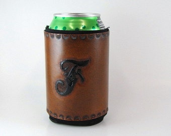 Personalized Leather Can Cooler Monogram Initial F Ready to Ship Leather Can Holder Hand Tooled Leather Beer Holder Monogram Black Letter F