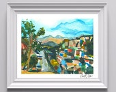 Digital Print of Original Watercolor on Paper of Honduran Cityscape, Bright and Vibrant, Cold Press, Fine Art, Many Sizes to Choose From!