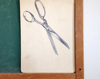 Vintage School Flashcard- Scissors