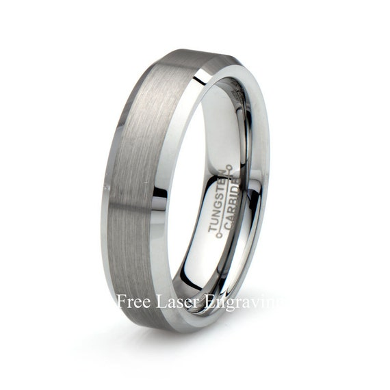 mens tungsten carbide wedding band 6mm brushed beveled polished edge