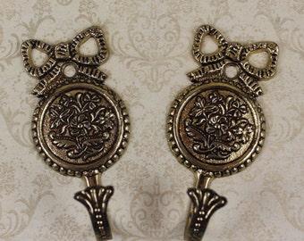 Pair of Golden Brass Embossed Metal Victorian Style Hooks