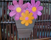 Sale art sculpture - Flower Pot - wall sculpture upcycled metal wall hanging kitchen bath deck eco friendly