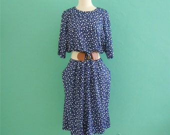 sale ~ 80's navy and white polka dot dress // large xl