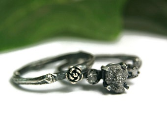 Rough Black Diamond Twig Wedding Set, Steampunk Gothic Style Jewelry, Oxidized Sterling Ring, Alternative Wedding Set