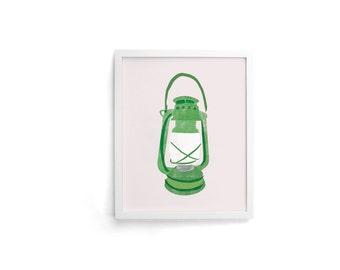 Camp Lantern 8 x 10 Single Art Print