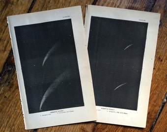 1872 DONATI'S COMET set of two lithographs original antique celestial astronomy prints