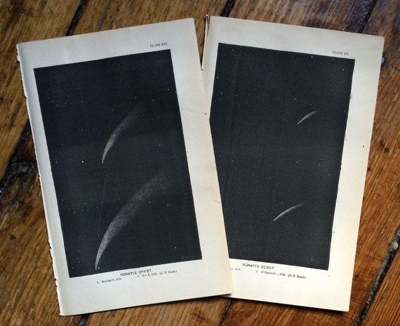 1872 DONATI'S COMET set of two lithographs original antique celestial astronomy prints