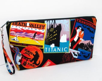 Large Zipper Pouch, Favorite Haunts, Scary Places Wedge Bag, Knitting Project Bag