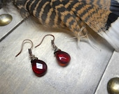 Sanguine. Faceted Czech glass rustic blood droplet earrings