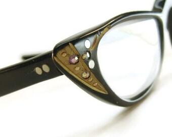 Vintage 60s Eyeglasses Eyewear With Rhinestones Frame A/O