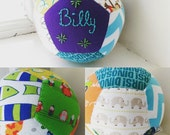 Unique handsewn customised baby gift, patchwork ball, hand embroidered baby boy gift, christening gift, toy rattle