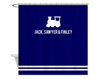 TRAIN ENGINE Personalized Kids Shower Curtain - Choose Your Color!