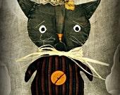 Primitive Halloween Stumpkin Cat