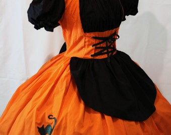 MOVING SALE Cute Witch Halloween Costume Dress Orange & Black Dress Black Cat  Cute Modest Couture Unique Costume Womens Small Medium Large
