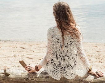 Knitted boho wrap, Lace handknitted shawl, Latte colour, Gipsy chic, Bohemian girl, Laces scarve