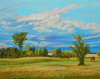 "Art Original Landscape Oil Painting Eastern Townships Cloud Scenery Blue Sky Appalachian Quebec Canada By Jacque Audet ""The Weight Of Blue """