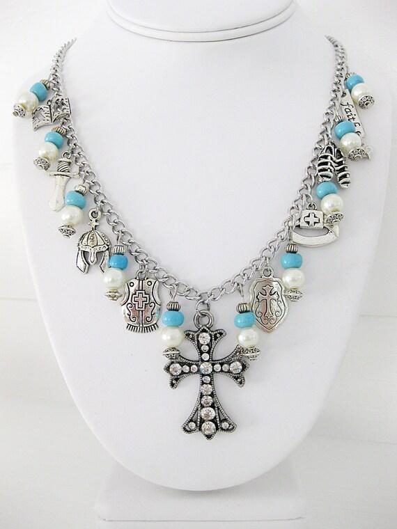 rhinestone cross necklace armor of god jewelry christian