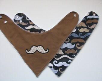 2 Baby Bandana Bibs  Mustaches  701  ab