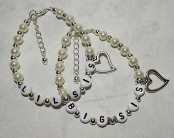 Big Sister & Little Sister - Pearl Heart Bracelet Set With Wire - U PICK Pearl Color
