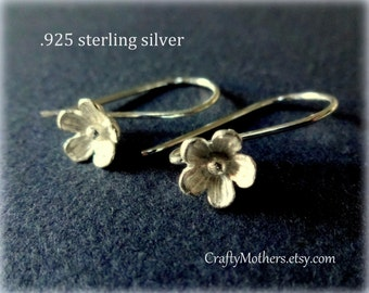 FIVE Pairs Bali Sterling Silver Large Flower Ear Wires (10 pieces), 25mm x 15mm, artisan-made jewelry supplies, precious metals, bridal