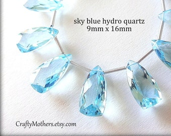 AAA Sky Blue Quartz Faceted Pyramid Briolettes Trio, (1) Matched Pair plus (1) Focal, 9mm x 16mm, gemstone beads, wedding, bridal jewelry