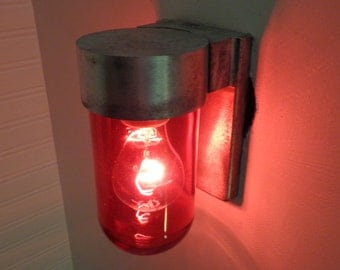 Mid-Century RED Wall SCONCE Lamp of Brushed Aluminum Refurbished