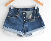 Levis 501 High Waisted Shorts Levi 501 Shorts Vintage Levi High Waisted Jean Shorts High Waist Shorts Denim Cutoffs xs waist 26