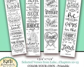 Luke 10-13 Color Your Own Bookmarks  Bible Journaling Illustrated Faith INSTANT DOWNLOAD Scripture Digital Printable Christian Religious