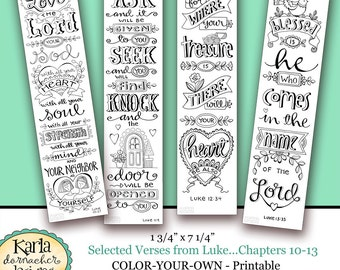 Luke 10 13 Color Your Own Bookmarks Bible Journaling Illustrated Faith  INSTANT DOWNLOAD Scripture Digital  Christmas Bookmark Templates