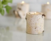 """Natural Birch Tea Light Holder - 3"""" Tall - Single Candle Holder - Wedding Table Decorations"""