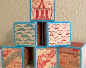 Vintage Circus Building Blocks (set of 6)(also available in set of 13)