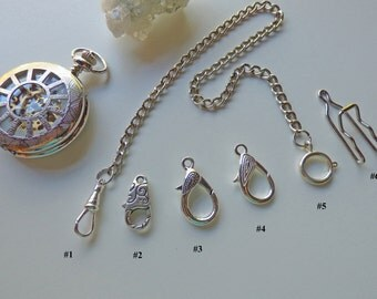 Silver Pocket Watch Chain - 14 inches - 9 Clasp combinations - (swivel, spring ring, lobster, pant hook), Watch Accessory