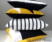 Set FOUR Nautical Outdoor Pillows, Modern Navy Blue Throw Pillows, Geometric White Yellow Color Block, Decorative Sunbrella Cushions