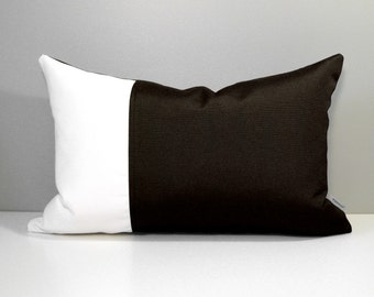 Dark Brown & White Outdoor Pillow Cover, Decorative Pillow Case, Modern Throw Pillow Cover, Walnut Sunbrella Cushion Cover, Mazizmuse
