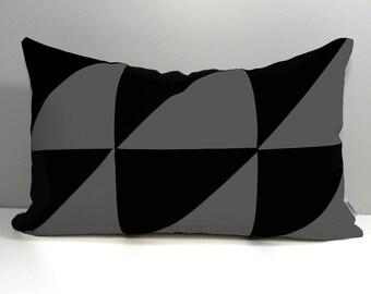 Geometric Outdoor Pillow Cover, Decorative Color Block, Modern Gray Colorblock, Black & Charcoal Grey Sunbrella Cushion Cover Mazizmuse