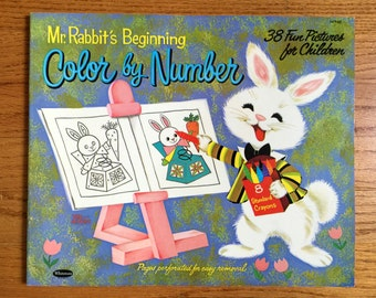 Vintage Rare Whitman Mr. Rabbit's Beginning Color by Number Coloring Book 1963 UNUSED MidCentury Illustrations Collectible Activity Book