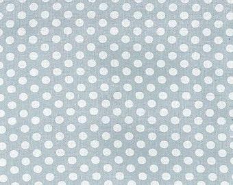 Michael Miller Fabric Polka Dot KISS 1/4 quarter inch White Dots on Fog Grey Gray