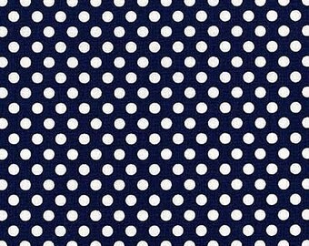 Michael Miller Fabric Polka Dot KISS 1/4 quarter inch White Dots on Navy Blue