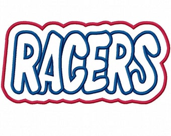 Racers with a Shadow Embroidery Machine Applique Design 4379