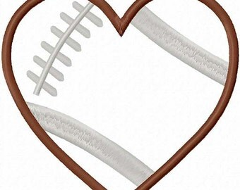 Football Heart Embroidery Machine Applique Design 4382 INSTANT DOWNLOAD