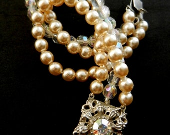1940s wedding in Venice glamorous 3 strand ivory pearls and AB crystals bracelet ,gleaming silver filigree clasp -- Art.913/3-