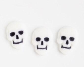 Skull Edible Sugar Decorations, Halloween Cupcake Decorations, Skull Cupcake Toppers, Day of the Dead Cupcake Toppers (12)