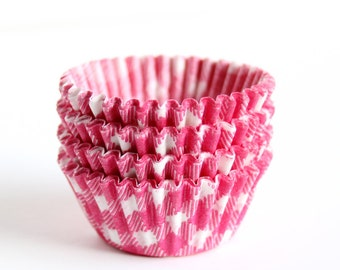 100 MINI Cupcake Liners - Pink Gingham Baking Cups