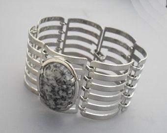 Silver Cage Bracelet, Stone Bracelet, Silver Bracelet, Agate Bracelet, Statement Bracelet, Chunky Bracelet, Large Bracelet