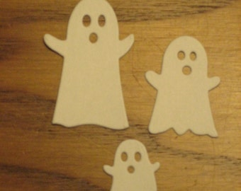 18 Halloween Ghost Die Cuts: White 3 sizes Stamping supplies Handmade card