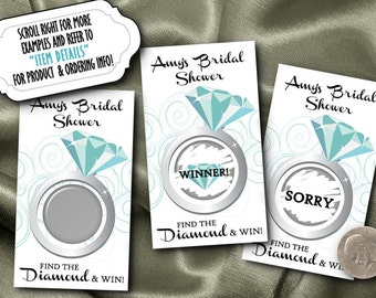 Set of 10 Party Game Scratch Off Cards, Aqua Blue, Turquoise, Diamond Ring, Bridal Shower, Engagement Party, Birthday