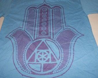 T-Shirt - Hamsa (Purple on Light Blue)
