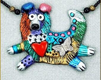 Hand Sculpted Shetland Sheepdog Sheltie Necklace by Kristy Zgoda