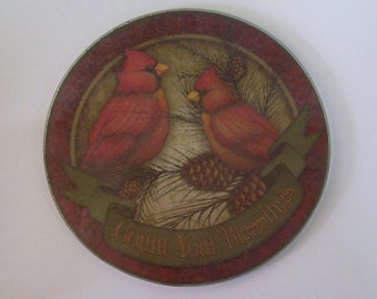 Round Glass Trivet, Two Red Cardinals, Home Decor, Nature Scene, Birds on Branch, Kitchen Decor,