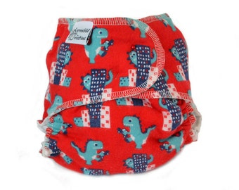 Fitted Cloth Diaper, OS, Flannel - Dinosaurs, buildings